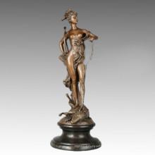 Myth Bronze Sculpture Small Artemis Carving Decor Brass Statue TPE-782