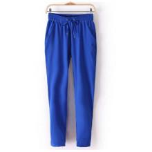 New Summer Women Pantalon en mousseline de soie pantalons élastiques pantalons noirs Casual Harem Pants (50208-2)