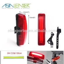 Líder de Asia BT-4796 batería de Li-ion Fuente de alimentación ABS 3.7V COB USB recargable luz de la bicicleta