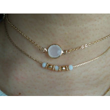 Double Gold Plated Choker with Gemstone Pendant
