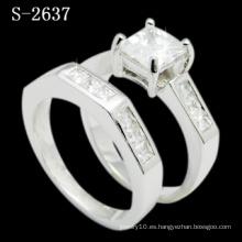 Anillo de plata plateado rodio de la joyería de la manera (S-2637. JPG)