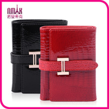 Glossy Genuine Leather Women′s Wallet Credit Card Slots Currency Crocodile Pattern