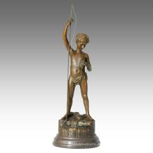 Kinderfigur Statue Kind Angeln Dekoration Bronze Skulptur TPE-343
