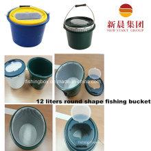 12 Liters Round Shape Plastic Dark Green Fishing Bucket