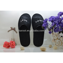 cheap soft black lab personalized close toe chinese embroidered hotel slipper