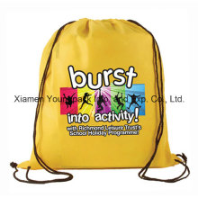 Promotional Custom Waterproof Yellow 210d Polyester Drawstring Back Pack