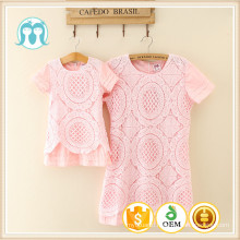 Lace dresses for adult casual fashion princess pink dress for kids and adult children Guangzhou factory clothes