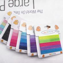 Meninas de prata tarja cores misturadas cartão embalado hairbands elásticas (je1502-2)
