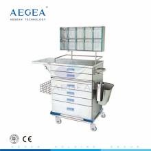 AG-AT015 capa de polvo de acero enfermera trabajo instrumento anestesia carrito para quirúrgico