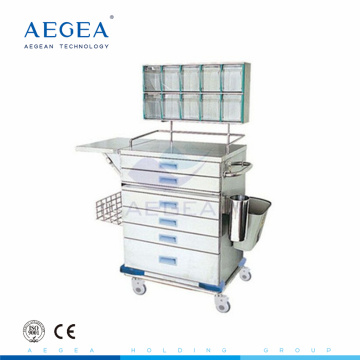 AG-AT015 CE ISO Color steel medical multi size drawers nurse instrument anesthesia trolley