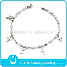 Producto religioso Pulsera de cuentas de acero inoxidable con cruz y maria