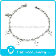 Bracelet de perles de produits religieux en acier inoxydable avec croix et Marie