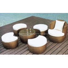 Outdoor Rattan Coffee Sofa Set With Footrest