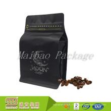 La coutume de catégorie comestible a imprimé le sachet de valve de fond de bloc de thé de café noir d'aluminium de café avec la tirette