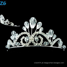 Stylish A Level Cristal princesa pequena tiara cristal beleza Pageant tiaras