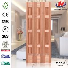 JHK-013 Lattice Design High Quality Garage Exterior Natural Sapelli Hot Sale Molded MDF CARB Certifeicate Door Skin
