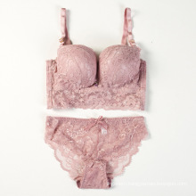Hot sexy breathable sexy lace small size push up ladies bra set and panties