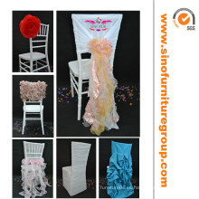 La venta caliente fantasía rizó la cubierta de la silla de la boda