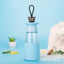 Botella de agua de cristal animal preciosa 350ml con la manga del silicón