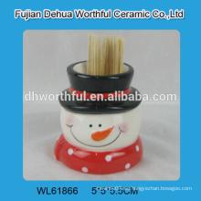 Titular de palillo de cerámica al por mayor en forma de muñeco de nieve