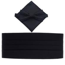Conjunto de lenços e gravata Cummerbund preto sólido de poliéster