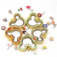 Imitação de ouro jóias flutuante colar Locket para tema partido (zc-ml06)