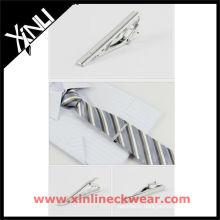 Silver Copper Fashion Tie Clip and Silk Woven Tie