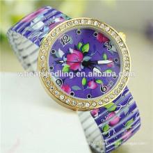 2015 new arrival purple flower design slim watch