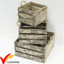 Solid Vintage French Wooden Fruit Crates for Sale
