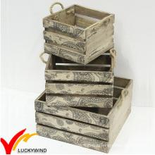 Твердые старинные французские деревянные ящики для фруктов на продажу