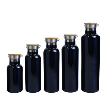 Eco-friendly vacuum water bottle flask bamboo lid travel mug