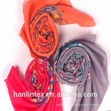 100% spun polyester grey fabric voile for scarf/100% spun yarn polyester fabric for scarf