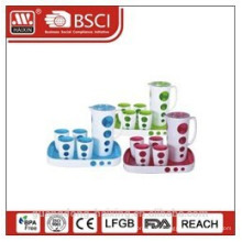 Kunststoff Wasserkocher mit 4 Tassen und Tablett