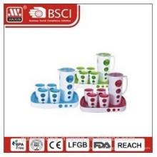 чайник для воды пластиковые с 4 чашки и лоток