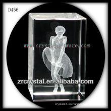 Retrato subsuperficial láser K9 en 3D Rectángulo interior de cristal