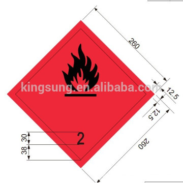 Harzard class sticker inflammable gas label