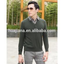 100% Cachemire tricoter chandail de col de chemise pour hommes