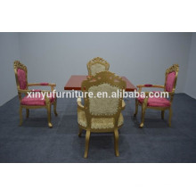 Luxury golden chairs and modern square table sets XYN1241