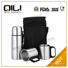 350ml bullet flask with 2pcs 220ml coffee mug stainless steel vacuum thermos flask set