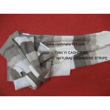 100% Cashmere Natural Stripe Scarf