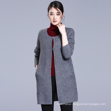 Covered button binding neck long sleeve cardigan women pure cashmere sweater coat