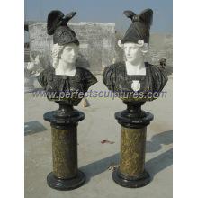 Busto de la cabeza de la estatua del mármol de la escultura de piedra para la decoración del jardín (SY-S315)