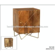 Industrial Mango Wood with Brass Inlay and Metal Legs 1 Door Nightstand