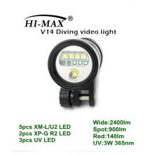 HI-MAX V14 mit 5pc XM-L / U2, 2pc XP-G R2, 3pc UV LED, 2400lm breit, 900lm Spot, 140lm Rot, 3W uv führte 365nm Videoleuchten