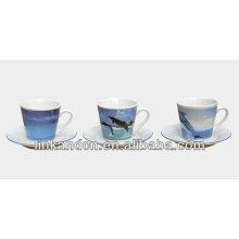 KC-03009sea picture coffee cup with saucer,high quality coffee mug