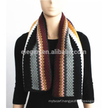 Stripe Pattern Knitted Acrylic Scarf