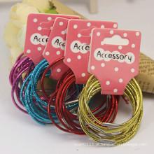 10 peças de cartão embalado metal cor elástica hairbands de borracha (je1586)