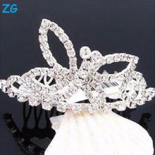 Великолепный кристалл свадебных волос аксессуары гребни, металлические гребни волос стороны для принцессы, металлические гребни волос