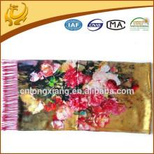 52 * 200cm Femmes Fleur élégante 100% soie Grande écharpe longue Rose manteau imprimé avec fourreau