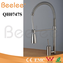 Brass Chromed Big Spray Single Lever Handle Pull Down Spring Kitchen Faucet